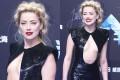 Ембер Херд здивувала сукнею з хитромудрим декольте на прем єрі фільму  Аквамен