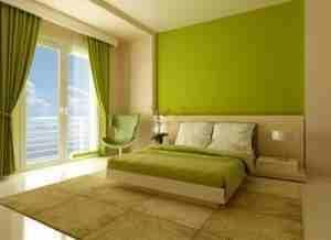 Дизайн салатовая спальня